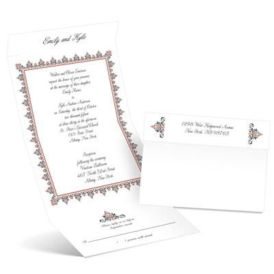 Damask Frame - Scarlet - Seal and Send Invitation