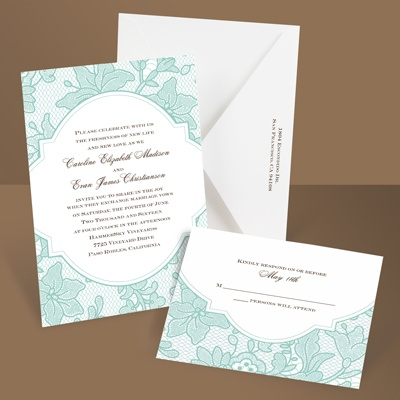 Vintage Lace - Lagoon - Invitation