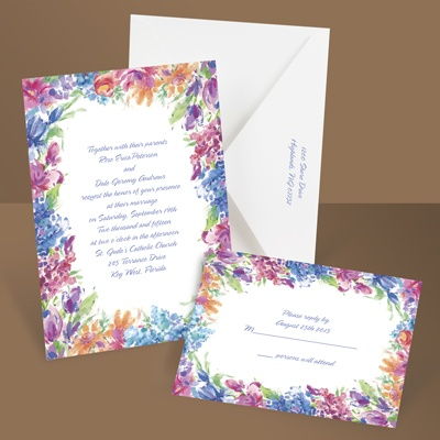 Brilliant Florals - Blue - Invitation