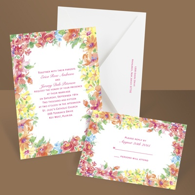 Brilliant Florals - Pink - Invitation