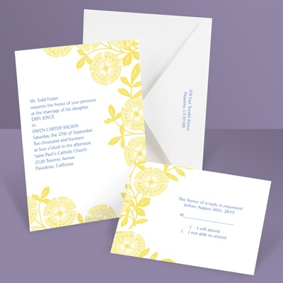 Modern Floral - Canary - Invitation