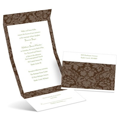 Floral Damask - Chocolate - Seal and Send Invitation