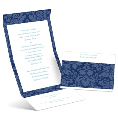 Floral Damask - Eclipse - Seal and Send Invitation