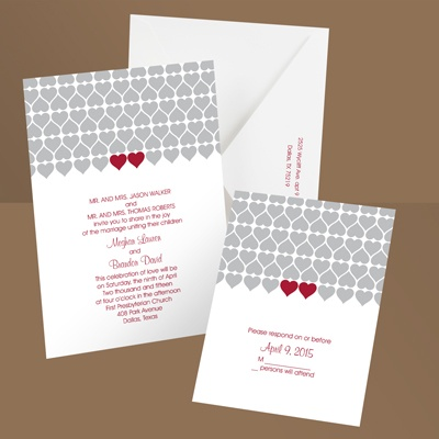 Sweet Hearts - Barn Red - Wedding Invitation