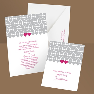 Sweet Hearts - Lipstick - Wedding Invitation