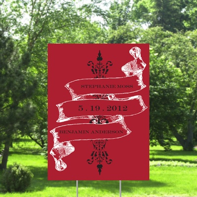 Vintage Banner Yard Sign - Barn Red