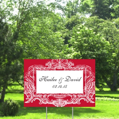 Ornate Frame Yard Sign - Barn Red - Small