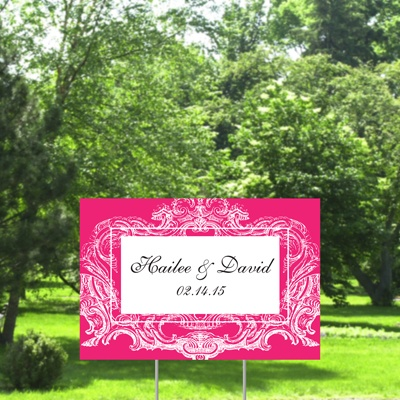Ornate Frame Yard Sign - Lipstick - Small