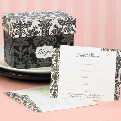 Damask Bridal Shower Recipe Box Set