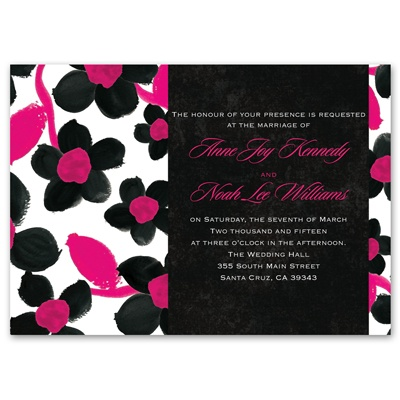 Watercolor Flowers - Lipstick - Invitation