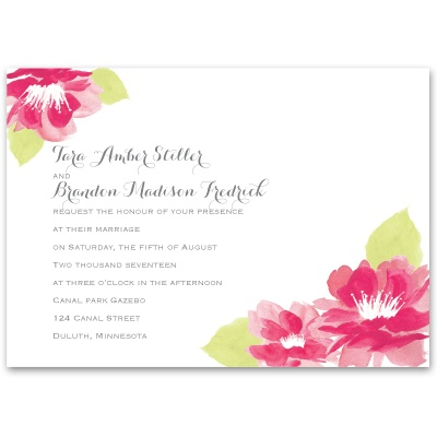 Watercolor Lotus - Lipstick - Invitation