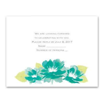 Watercolor Lotus - Palm - Response Card and Envelope
