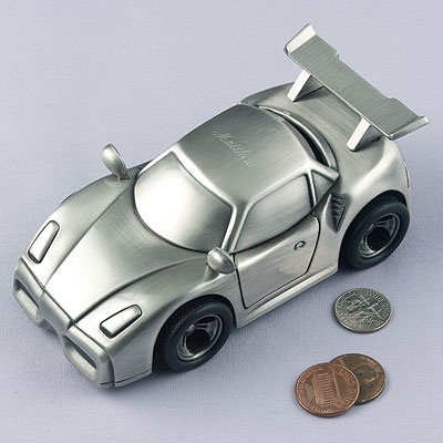 Pewter Personalized Race Car Bank