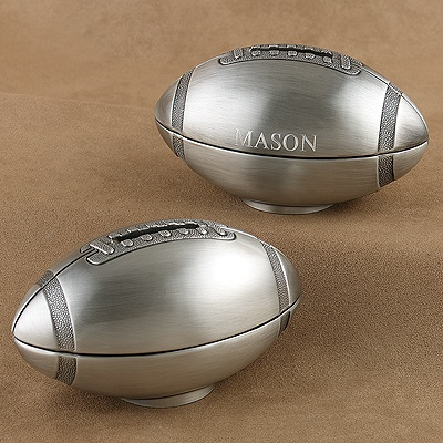 Pewter Football Bank