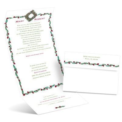 Holly Wreath - Seal and Send Invitation