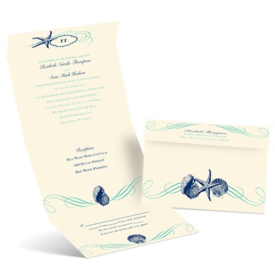 Perfect Waves - Ecru - Seal and Send Invitation