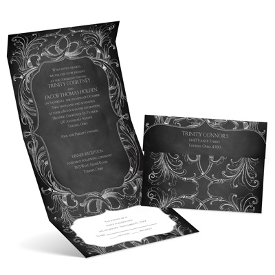 Chalkboard Flourish - Seal and Send Invitation