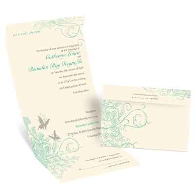 Butterflies - Ecru - Seal and Send Invitation