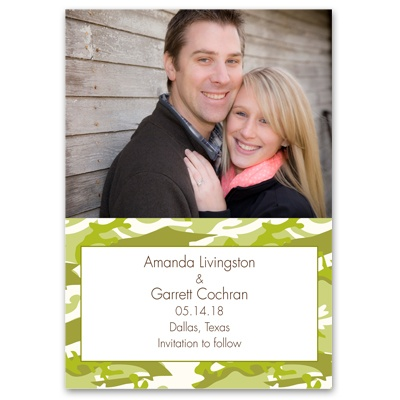 Camo Love - Moss Green - Save the Date Card