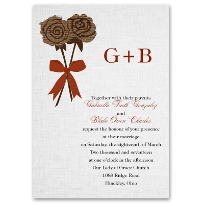 Burlap Roses - Invitation