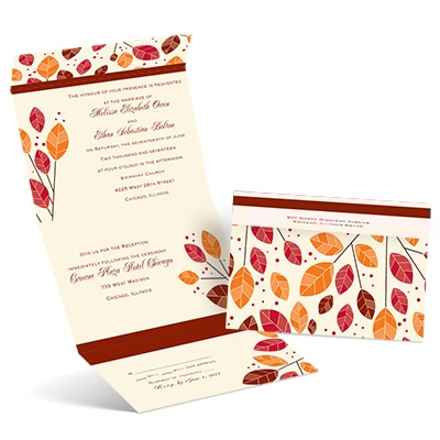 Modern Leaves - Ecru - Seal and Send Invitation