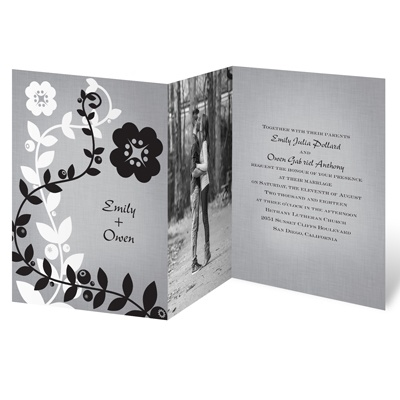 Modern Floral Vines - Photo Invitation