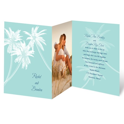 Palm Tree Canopy - Aqua - Photo Invitation