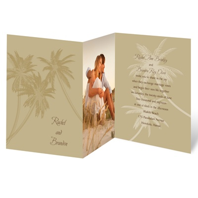 Palm Tree Canopy - Champagne - Photo Invitation