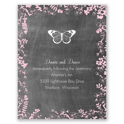 Chalkboard Blossoms - Choose Your Design - Reception Card