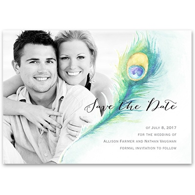 Pretty Peacock - Save the Date Card
