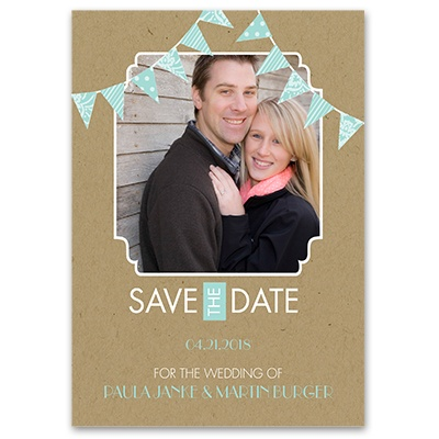 Patterned Pennants - Save the Date Card