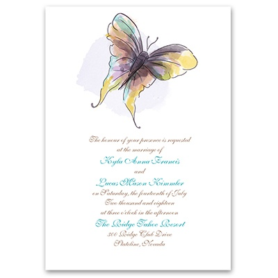 Watercolor Butterfly - Invitation with Free Response Postcard