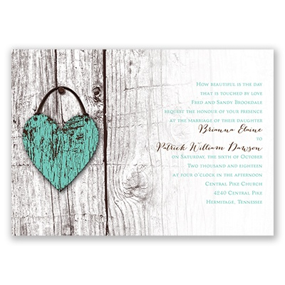Wood Heart - Invitation with Free Response Postcard