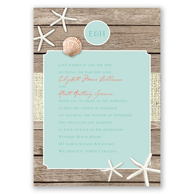 Beach Retreat - Invitation with Free Response Postcard