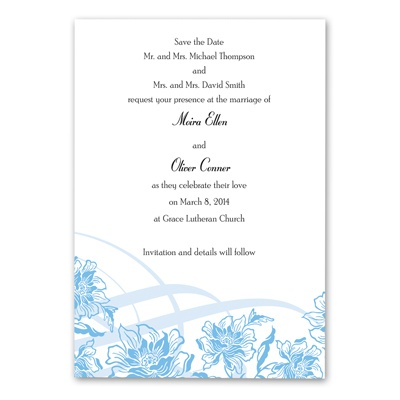Flowers and Flourishes - Cornflower - Save the date
