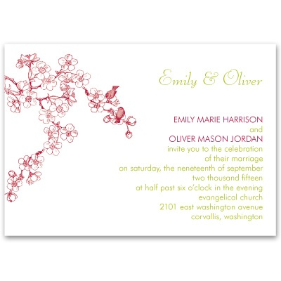Birds in Cherry Blossoms - Petite Invitation