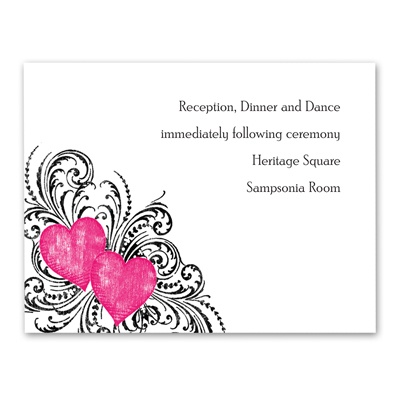 Hearts and Flourishes - Lipstick - Reception Card