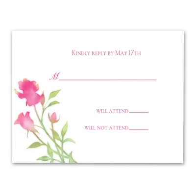 Watercolor Roses - Lipstick - Response Card and Envelope