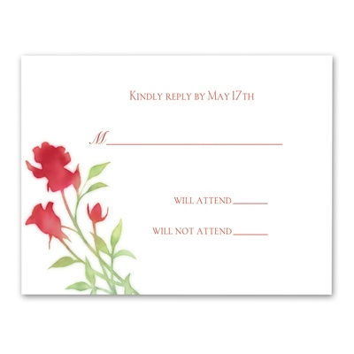 Watercolor Roses - Scarlet - Response Card and Envelope
