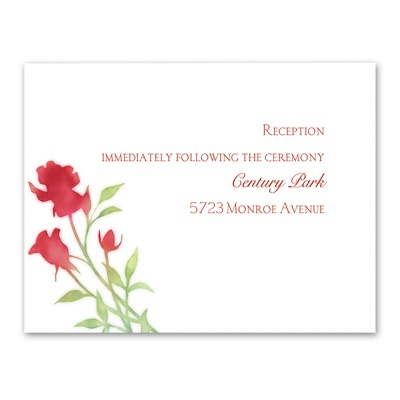 Watercolor Roses - Scarlet - Reception Card