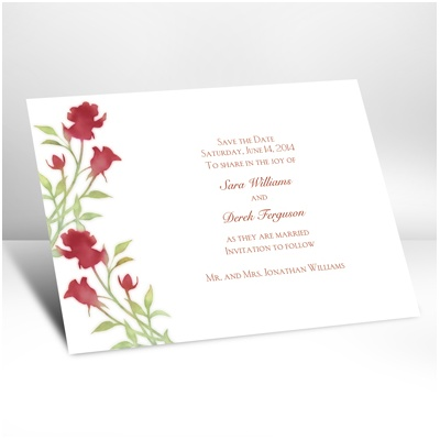 Watercolor Roses - Scarlet - Save the date