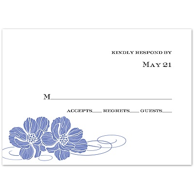 Hydrangea Pair of Flowers - Response Card and Envelope
