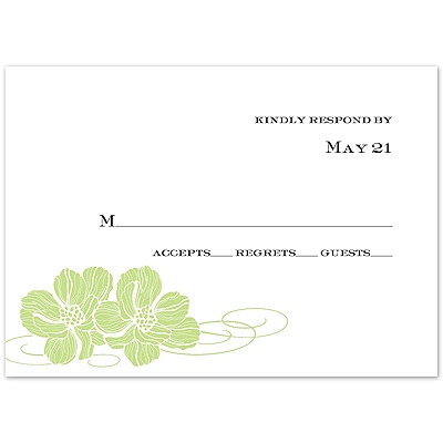 Leaf Pair of Flowers - Response Card and Envelope