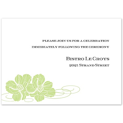 Leaf Pair of Flowers - Reception Card