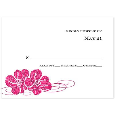 Lipstick Pair of Flowers - Response Card and Envelope