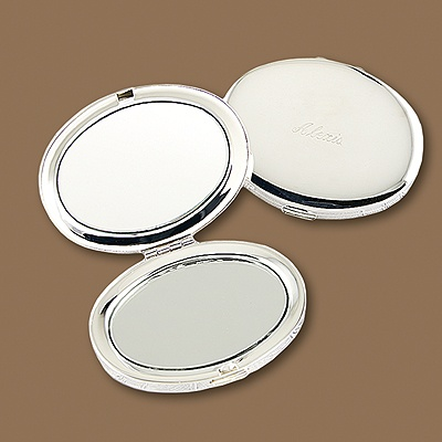 Silver Plated Oval Compact