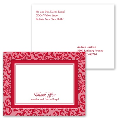 Filigree Frame - Barn Red - Thank You Postcard