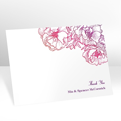 Sketched Flowers - Pink and Orange - Thank You Postcard