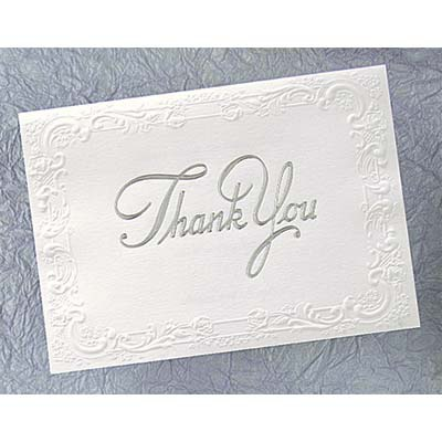 Bright White With Silver Foil Blank Thank You