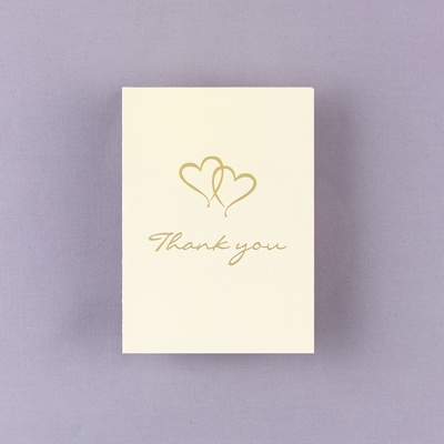 Personalized Ecru Thank You Card With Gold Foil Hearts